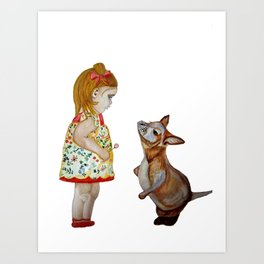 Child and Small Kangaroo (Watercolour) Art Print