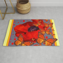 Abstract Red Poppy Monarch Butterflies Yellow-Grey Rug