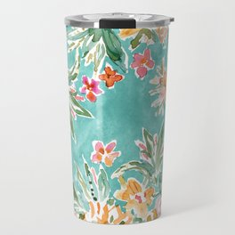 SELF MADE Colorful Aqua Floral Travel Mug