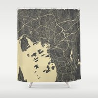 oslo Shower Curtains featuring Oslo Map by Map Map Maps