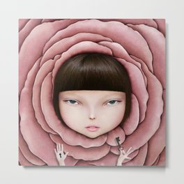 head of girl in rose petal with key in his hand Metal Print