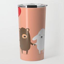 Cute cartoon bear and bunny rabbit holding hands Travel Mug