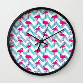 Go Flamingo! Tropical Pink Neon Flamingos Teal Glitter Chevron Wall Clock