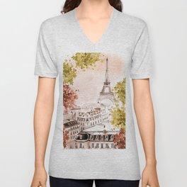 city of Paris Unisex V-Neck