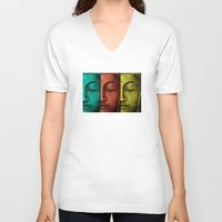 buddha V-neck T-shirts featuring buddha by mark ashkenazi