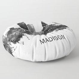 Madison Wisconsin Skyline BW Floor Pillow