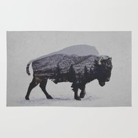 bison Area & Throw Rugs featuring The American Bison by Davies Babies