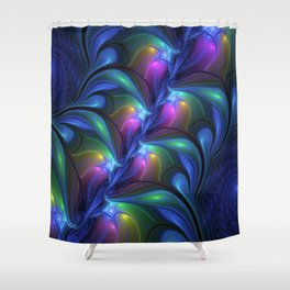 Colorful Luminous Abstract Blue Pink Green Fractal Shower Curtain