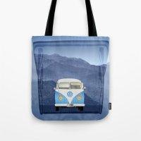 volkswagen Tote Bags featuring Volkswagen Bus by Aquamarine Studio