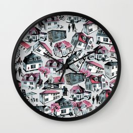 Danish small town pattern Wall Clock