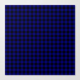 Navy Blue Buffalo Check Tartan Plaid - Blue and Black Canvas Print