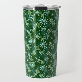 Festive Snowflakes in Green and Gold Travel Mug