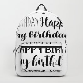 Happy Birthday | Black and White Pattern Backpack