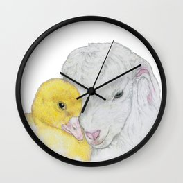 Lamb and Duckling Love Wall Clock