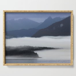 Misty Alaskan Fjord Serving Tray