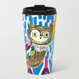 owl and girl love Travel Mug
