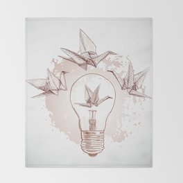 Origami paper cranes and light Throw Blanket