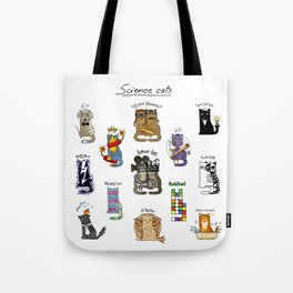 Science cats. History of great discoveries. Schrödinger cat, Tesla, Einstein. Physics, chemistry etc Tote Bag