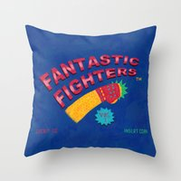 foo fighters Throw Pillows featuring Fantastic Fighters by murat kalkavan