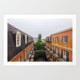 The Colorful Buildings and Palm Trees in New Orleans Art Print