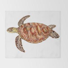 Green turtle Chelonia mydas Throw Blanket