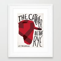 catcher in the rye Framed Art Prints featuring Catcher in The Rye by J.D Salinger Book Cover Re-Design by Judge A Book