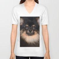 pomeranian V-neck T-shirts featuring Pomeranian by Pancho the Macho