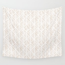 Abstract Leaf Pattern in Tan Wall Tapestry