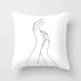 Hands line drawing illustration - Carly Throw Pillow