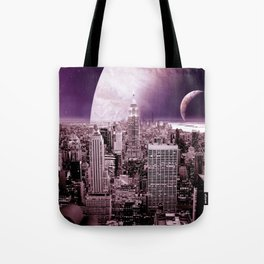 New New York : Galaxy City Dark Mauve Tote Bag