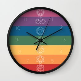 Seven Chakra Mandalas on a Striped Rainbow Color Background Wall Clock