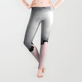 Blush Pink Gray and Black Graphic Cloud Effect Leggings