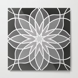 Shades of Grey | Abstract Flowers | Geometric Pattern | Black, Gray and White | Metal Print