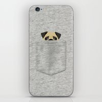 pocket iPhone & iPod Skins featuring Pocket Pug by Anne Was Here