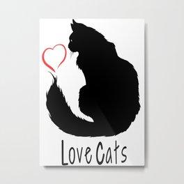 Love Cats-Animal Lover-Cat-Heart Metal Print