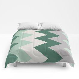 Sideways Chevron (Shades of Green and Grey) Comforters