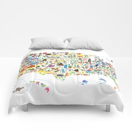 Animal Map of United States for children and kids Comforters