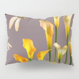 GOLD CALLA LILIES & DRAGONFLIES ON GREY Pillow Sham