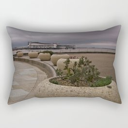 Weston-Super-Mare Seafront View Towards The Grand Pier Rectangular Pillow