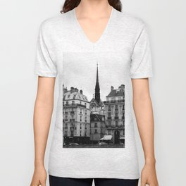 A View of Sainte Chapelle from the Right Bank of the Seine River, Paris, France Unisex V-Neck