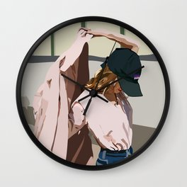 Pink Coat Wall Clock