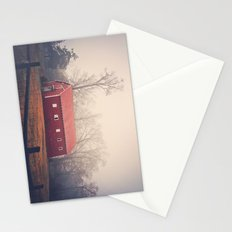 Little Red Barn in the Fog Stationery Cards