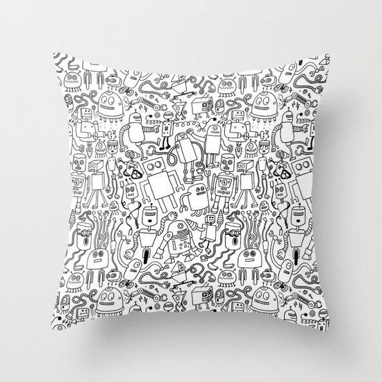 Infinity Robots Black & White Throw Pillow