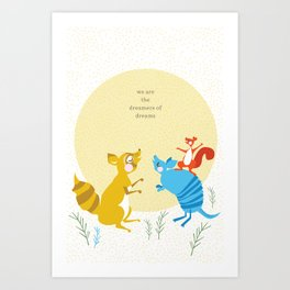 Raccoon and Armadillo Singing Art Print