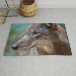 Red Wolf Stares Rug