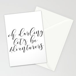 Inspirational Quote, Oh Darling Lets Be Adventurers, Travel Quote, Motivational Stationery Cards