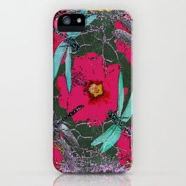 SHABBY CHIC BLUE DRAGONFLIES ON  FUCHSIA HOLLYHOCK FLOWERS iPhone Case