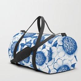 Blue large floral pattern Duffle Bag