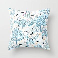 white birds garden Throw Pillow
