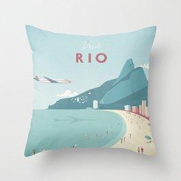 Vintage Rio Travel Poster Throw Pillow